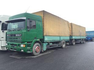 camion bâché DAF 95.430 ATI EURO2 + SCHARZMULLER + remorque bâchée