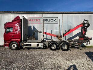 camion forestier SCANIA R580, 6x4 + CRANE, EURO6, RETARDER