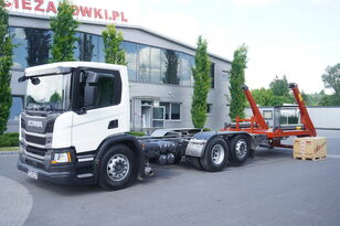 camion multibenne SCANIA P410, E6, 6x2, 60,000 KM, 6m frame, PTO, low cabin, NEW GATE 18T